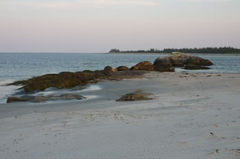 White sand beach at sunset